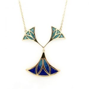 Blue and Green Enamel Pendant in 18ct Yellow Gold