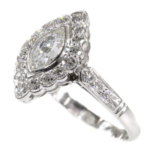 Vintage 1950s Marquise Diamond Cluster Ring, 0.85 carat total, mounted in platinum