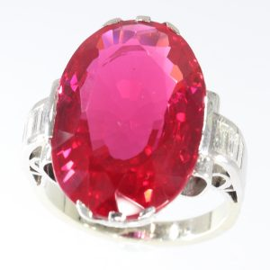 Antique French Art Deco Large Verneuil Ruby and Diamond Engagement Ring