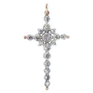 Antique Victorian Rose Cut Diamond Cross Pendant