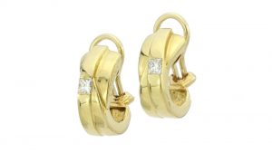 Boodles Princess Cut Diamond set 18ct Yellow Gold Clip on Earrings