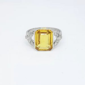 Emerald Cut Yellow Sapphire, Diamond and Platinum Ring, 3.20 carats