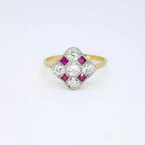 Ruby and Diamond Checkerboard Cluster Ring, 0.80 carats
