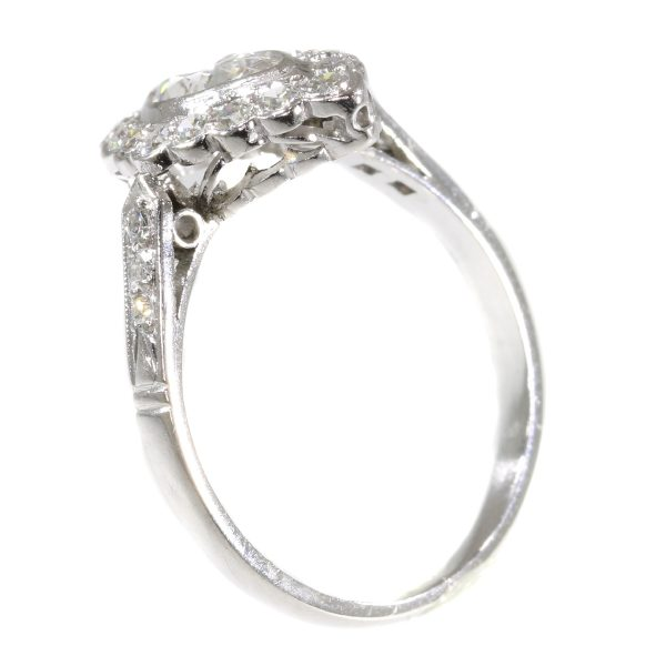 Vintage 1950s Marquise Diamond and Platinum Cluster Ring, 0.85 carats