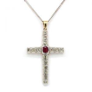 Old Cut Diamond and Ruby Cross Pendant in 18ct Gold