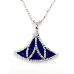 Contemporary Blue Enamel, Diamond and 18ct Gold Pendant, 0.43 carats