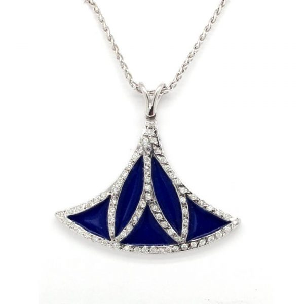 Contemporary Blue Enamel, Diamond and 18ct Gold Pendant; unique pendant formed of a single lotus shape, decorated with blue enamel and set with 0.43cts diamonds