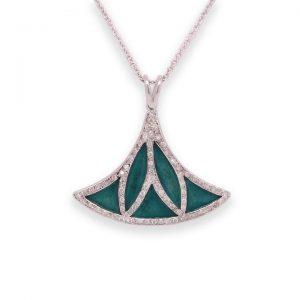 Green Enamel, Diamond and 18ct White Gold Lotus Flower Pendant