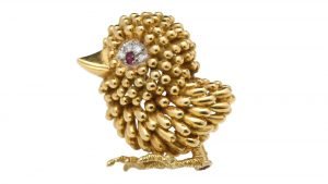 Vintage French 18ct Yellow Gold Bird Brooch with Ruby and Diamonds
