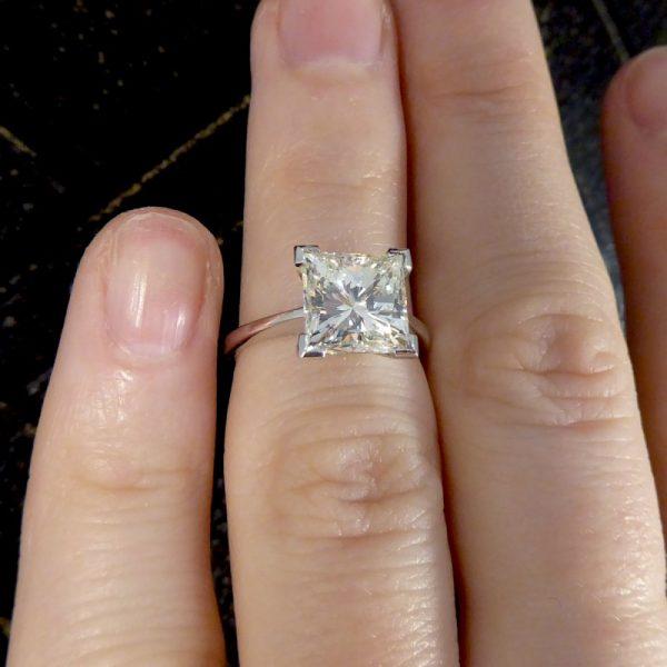 2.95ct Princess Cut Diamond Solitaire Ring