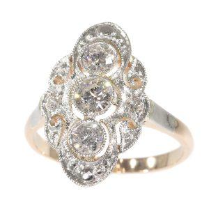 Vintage 1950's Diamond Dinner Dress Ring