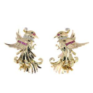 Vintage Retro Gold and Diamond Bird Clip Earrings