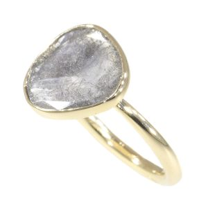 Artist Ring with Large Salt and Pepper Diamond