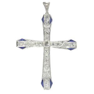 Vintage Art Deco Platinum Diamond and Sapphire Cross Pendant