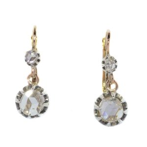 Antique Victorian Rose Cut Diamond Drop Earrings