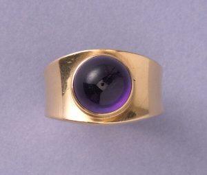 Georg Jensen Cabochon Cut Amethyst 18ct Yellow Gold Ring, Circa 1967
