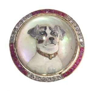 Antique Art Deco Gold Diamond Reverse Intaglio Jack Russel Terrier Brooch