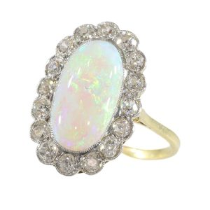 Antique Art Deco Cabochon Opal and Diamond Engagement Ring