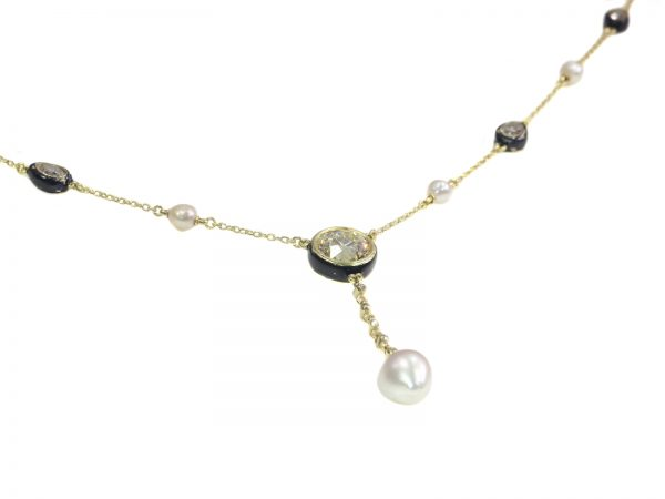 antique Victorian large diamond and large natural pearl necklace