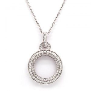 Diamond Hoop Pendant Necklace in 18ct White Gold, 0.65 carats