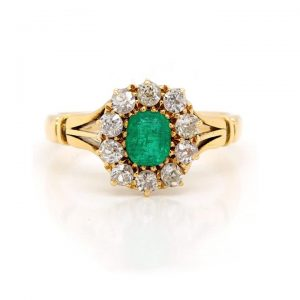 Vintage Emerald and Diamond Cluster Ring, Circa 1930s