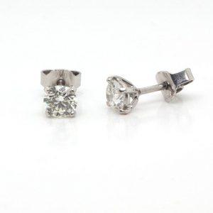 Pair of 0.89ct Single Stone Diamond Stud Earrings with GIA Certificate