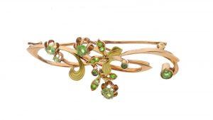 Antique Russian Demantoid Garnet Brooch Pendant in 14ct Rose Gold