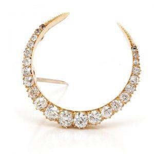 Antique Old Cut Diamond Half Moon Crescent Brooch, 1.90 carats
