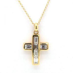Emerald Cut Diamond Set Cross Pendant in 18ct Yellow Gold, 0.90 carats