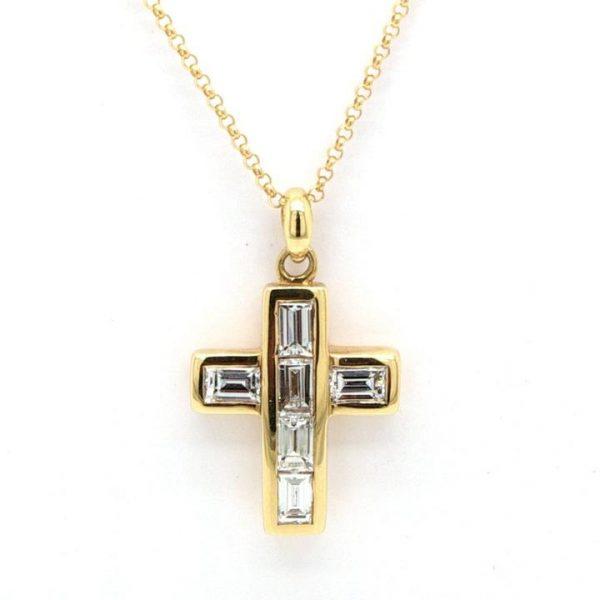 Emerald Cut Diamond Set Cross Pendant in 18ct Yellow Gold; 18ct yellow gold cross pendant channel-set with 0.90cts emerald cut diamonds