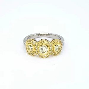 Fancy Yellow Diamond Triple Cluster Ring in Platinum, 1.22 carats