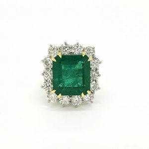 Certified 10.41ct Octagonal Zambian Emerald and Diamond Cluster Ring