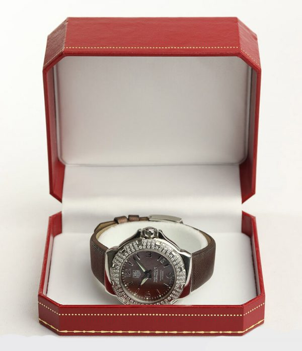 Tag Heuer Formula 1 Ladies Sparkling Diamond Bezel Mother of Pearl Dial 36mm Quartz Watch; Ref. WAC1217, on a TAG Heuer brown satin/leather strap with Tag Heuer buckle