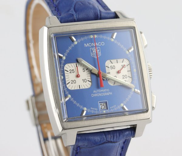 Vintage Tag Heuer Monaco Re Edition Automatic Chronograph with Blue Dial; Steve McQueen, 38mm stainless steel case with blue dial and acrylic crystal, on a blue leather strap with Tag Heuer deployment buckle, Circa 1990s