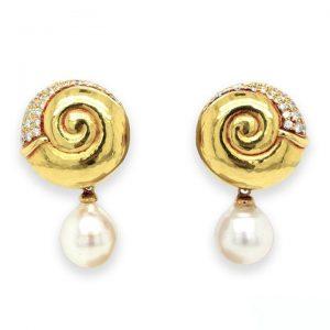 Vintage De Vroomen Pearl, Diamond and 18ct Gold Spiral Drop Earrings