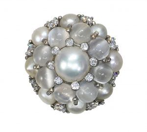 Cats Eye Moonstone and Pearl Cluster Bombe Cocktail Ring