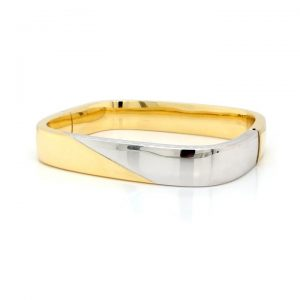 Vintage 18ct Yellow and White Gold Chunky Hinged Bangle Bracelet