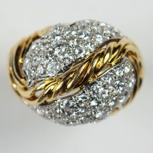 Vintage 1950s Diamond and 18ct Yellow Gold Leaf Design Bombe Ring