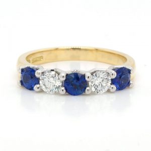 Sapphire and Diamond Five Stone Ring in Platinum and 18ct Yellow Gold