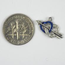Sapphire and Diamond Interlocking Hearts and Cupids Arrow Charm Pendant in Platinum