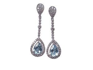 Pear Cut Aquamarine and Diamond Cluster Drop Earrings, 2.00 carats