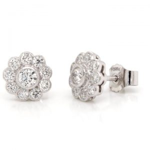 Diamond Flower Cluster Stud Earrings in 18ct White Gold, 0.58 carats