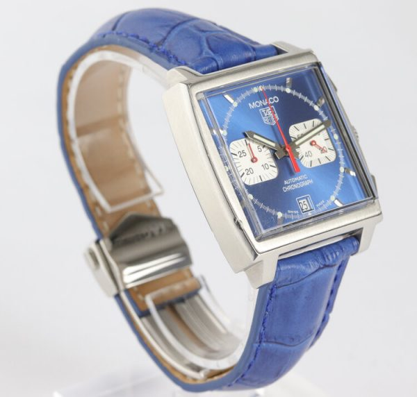 Vintage Tag Heuer Monaco Re Edition Automatic Chronograph with Blue Dial; Steve McQueen, on a blue leather strap with Tag Heuer deployment buckle, Circa 1990s