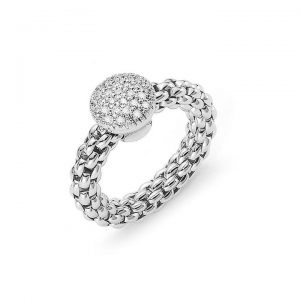 Fope Flex It Solo 18ct White Gold Diamond Cluster Woven Ring, 0.41cts
