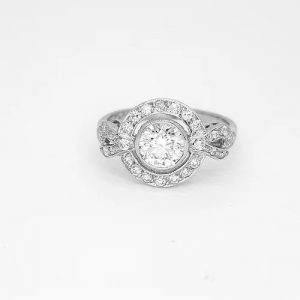 Diamond and Platinum Cluster Dress Ring, 1.10 carats