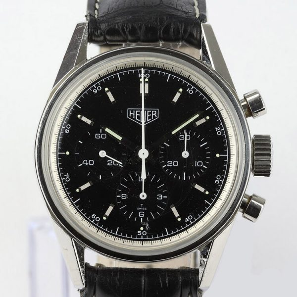 Tag Heuer Carrera 1990s Classic Re Edition 35mm Stainless Steel Manual Chronograph Watch; Ref CS3113, black dial, on an off-brand black leather strap