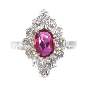 Vintage Ruby and Diamond Cluster Ring, Circa 1970s