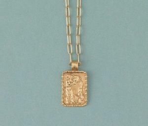 Vintage 18ct Yellow Gold Aquarius Zodiac Charm Pendant Necklace