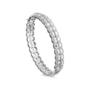 Rare Moon Shaped Rose Cut Diamond Bangle Bracelet, 4.83 carats