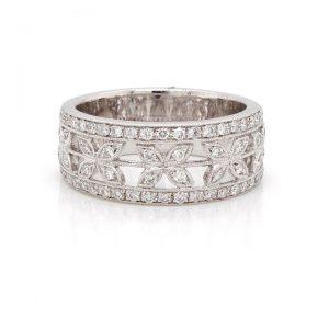 Ornate Diamond Half Eternity Ring, 0.49 carats